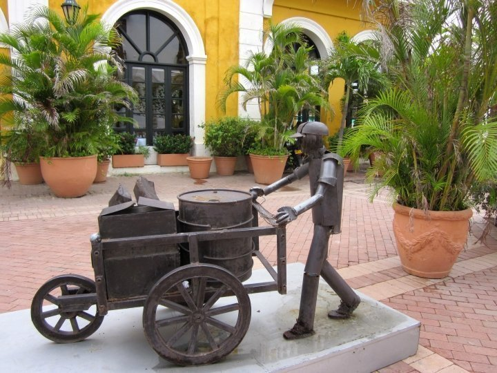 Metal Sculpture at San Pedro Claver Plaza in the Walled City of Cartagena