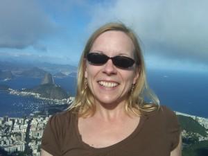 Susan Moore and view from atop Corcovado in Rio de Janeiro, Brazil