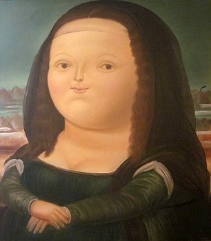 Botero Mona Lisa Painting at Museo de Botero in Bogota Colombia