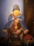 Pedrito on a Wooden Horse by Colombian artist Fernando Botero