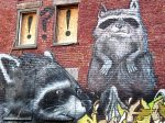 Racoons - Montreal street art mural in Old Town