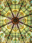 Intricate stained glass ceiling at Teatro Colon opera house in Buenos Aires Argentina