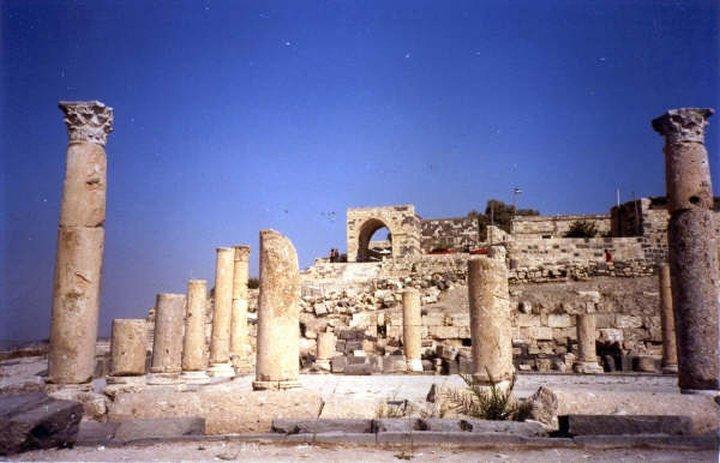 Blue sky behind Roman ruins - Jerash, Jordan
