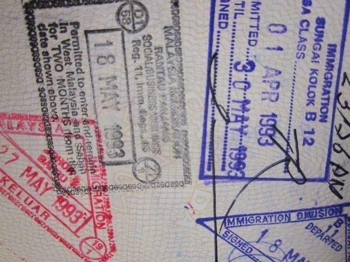 1993 passport stamps