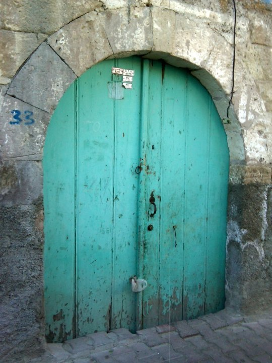 Turquoise door in Ürgüp Turkey
