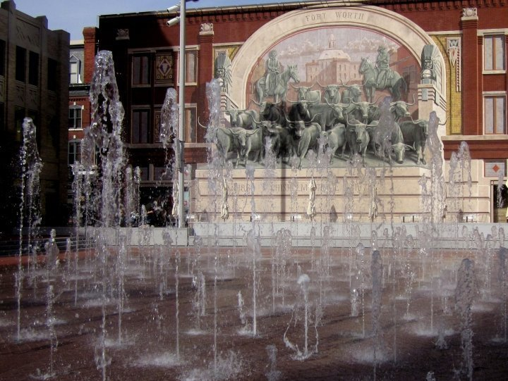 Chisholm Trail mural at Sundance Plaza in downtown Fort Worth Texas
