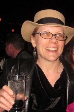 Susan & her cool hat at Scat Jazz Lounge in downtown Fort Worth