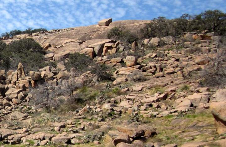 A rock garden of boulders at Enchanted Rock hiking area in Texas Hill Country