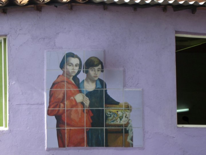 Tile reproduction of Pedro Ned Gomez painting in Aranjuez neighborhood Medellin Colombia