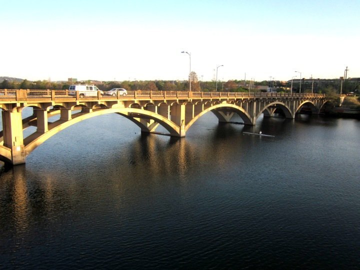 Lamar Bridge over Lady Bird Lake in downtown Austin Texas