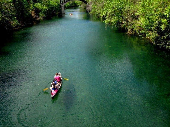 Canoeing on Lady Bird Lake in downtown Austin Texas