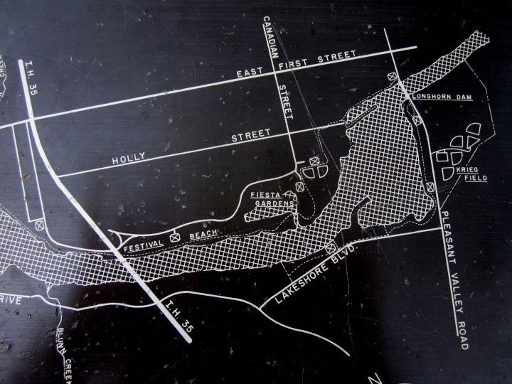 Map of Longhorn Dam area of Lady Bird Lake - originally named Town Lake