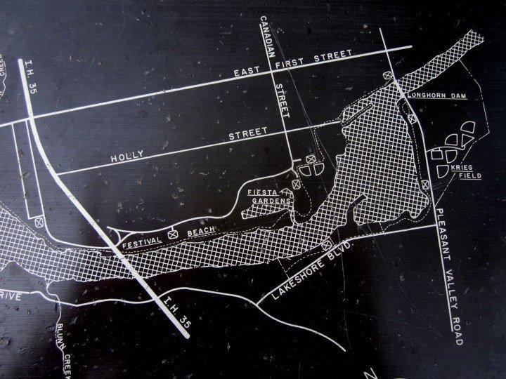 Map of Longhorn Dam area of Lady Bird Lake - originally named Town Lake