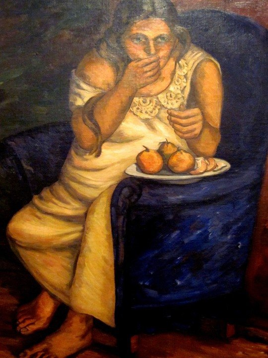 Pedro Nel Gomez painting of his wife Juliana eating oranges - Medellin Colombia