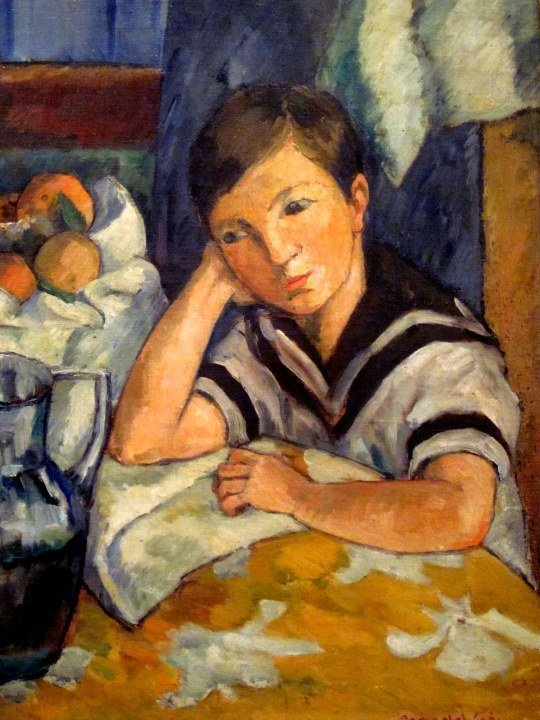 Painting by Pedro Nel Gomez - boy seated at a table - Medellin Colombia