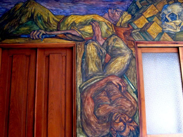 Courtyard mural at Casa Museo Pedro Nel Gomez in Medellin Colombia
