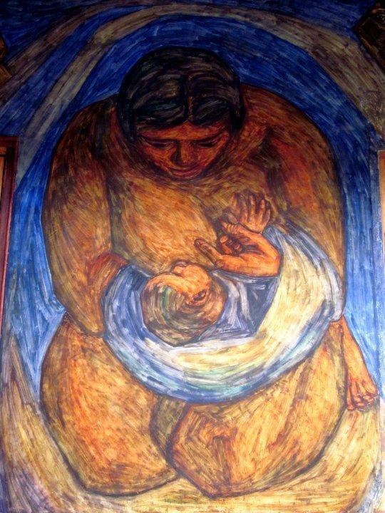 Courtyard mural at Casa Museo Pedro Nel Gomez - Medellin Colombia