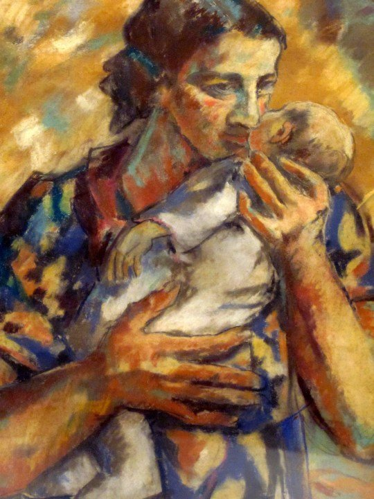 Mother and infant painting by Pedro Nel Gomez of Medellin Colombia