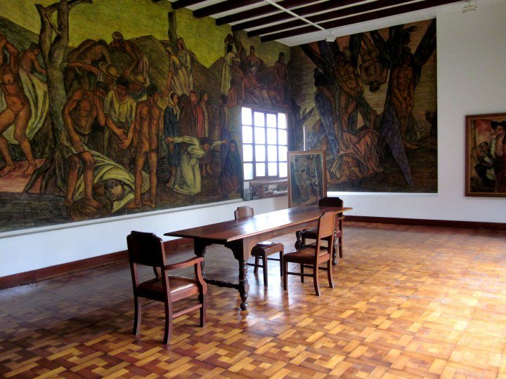 Art studio of Pedro Nel Gomez featuring a large mural - Medellin Colombia
