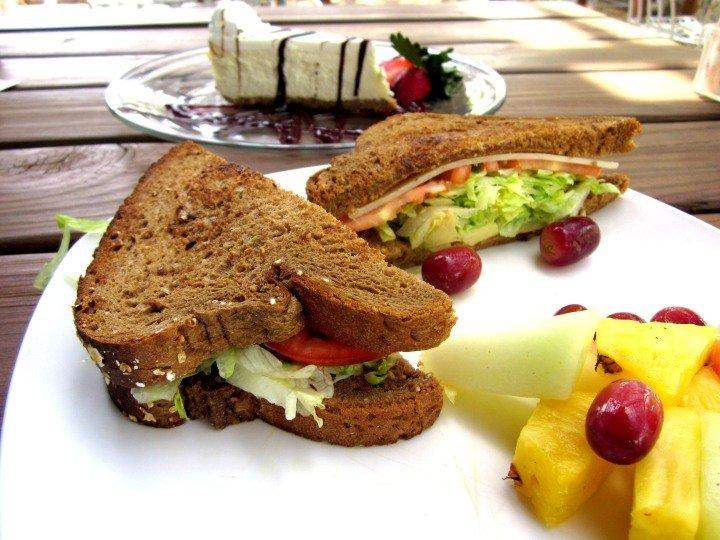 Hummingbird sandwich and cheesecake at the Wildflower Cafe - Lady Bird Johnson Wildflower Center - Austin TX