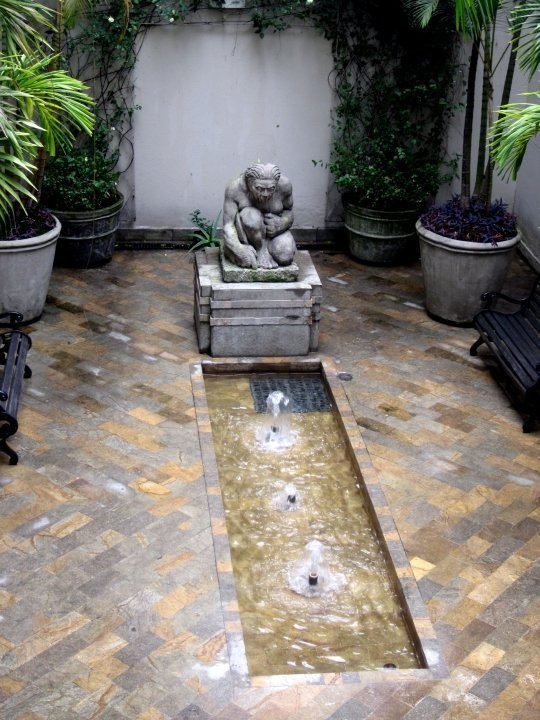 Fountain and sculpture at Museo de Antioquia in Medellin
