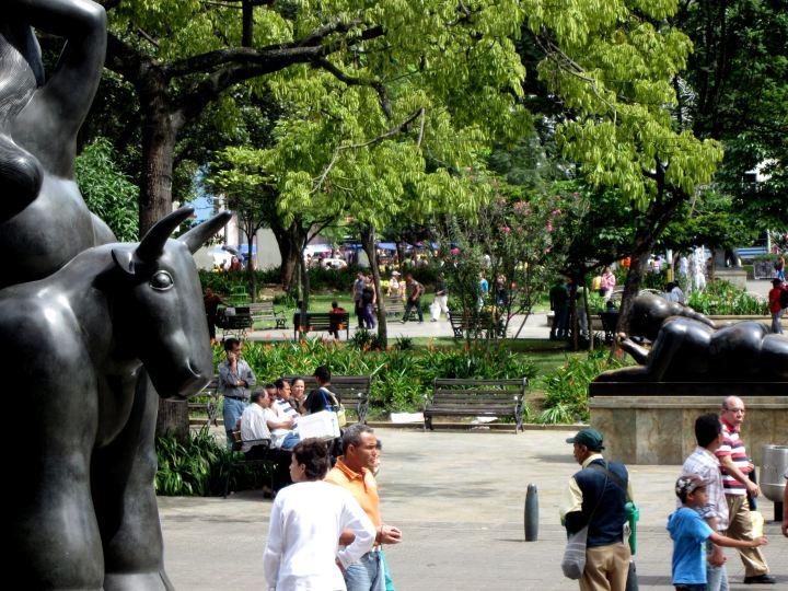 Enjoying the people watching at Plaza Botero