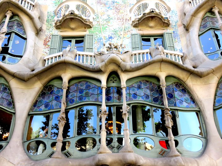 Front window of Casa Batllo in central Barcelona - know as House of Bones by Catalan architect Antoni Gaudi