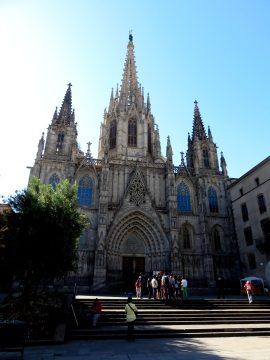 Front view of Barcelona Cathedral - Gothic cathedral and seat of the Archbishop of Barcelona Spain