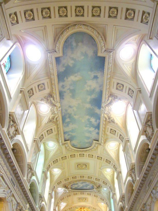 Beautiful ceiling of Notre Dame de Quebec Basilica-Cathedral in historic Quebec City Canada