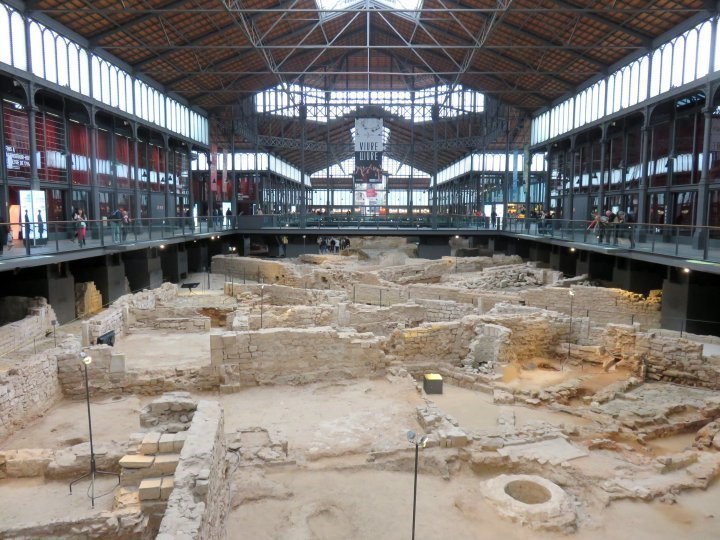View of ruins in El Born Centre Cultural in Barcelona - from Roman ruins to marketplace, now a museum