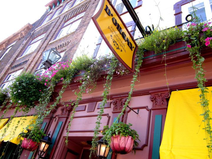 Flower boxes along thecobbled streets of historic Old Quebec Canada