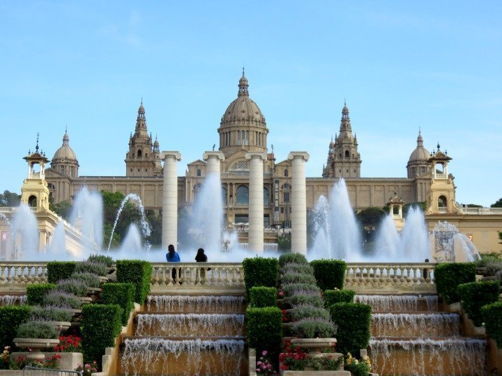 View of Font Magica of Montjuic in front of Museo Nacional d'art de Catalunya in Barcelona
