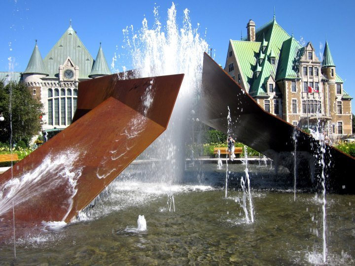 Fountain and Via Rail station in Quebec City - La Belle Province