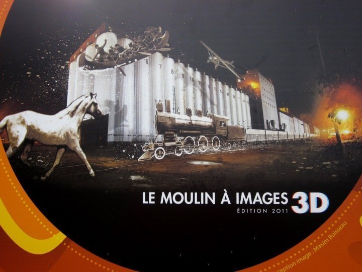 Poster for Le Moulin a Images 3D - depicting the history of Quebec - historic old Quebec Canada
