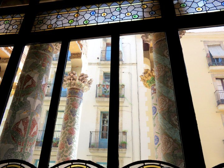 View of the mosaic pillars at Palau de la Musica concert hall in Barcelona
