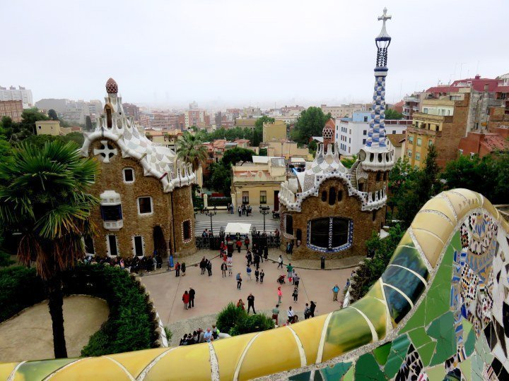 Gracia district of Barcelona - Park Guell guard house and mosaic tile bench by Catalan architect Antoni Gaudi