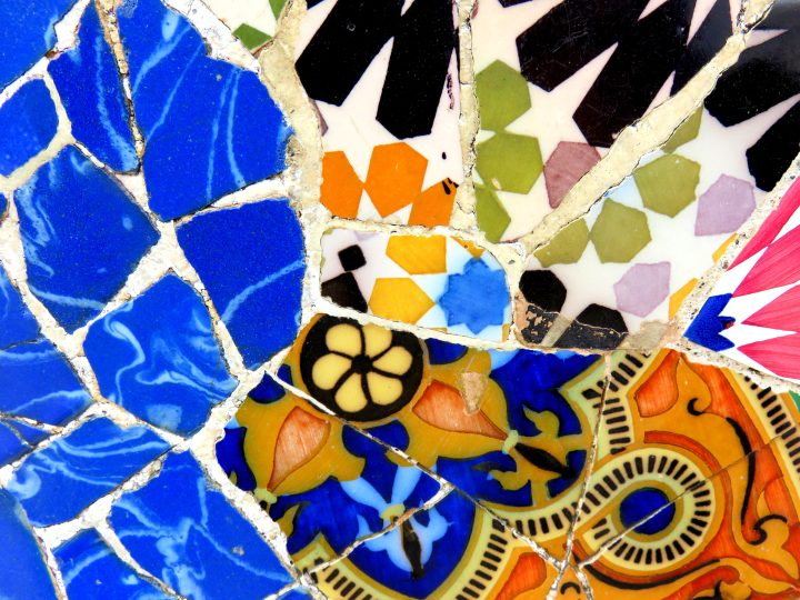 Mosaic bench detail at Park Guell in Barcelona