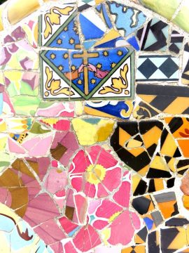 Detail of Gaudi mosaic tile bench at Park Guel