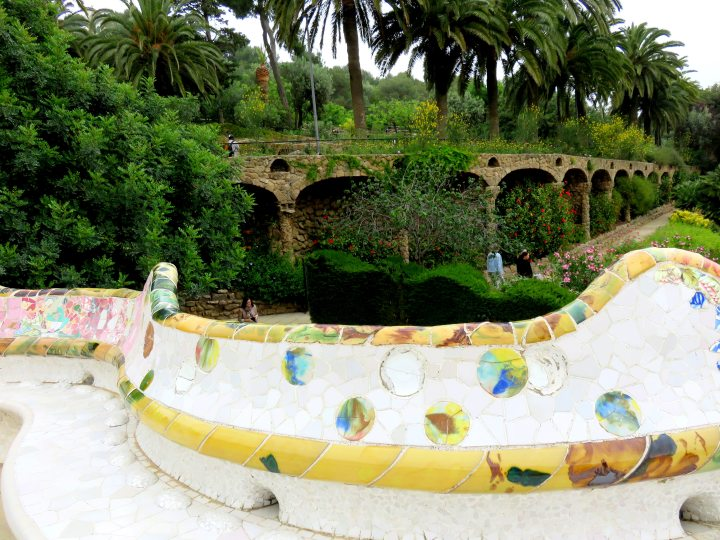 Catalan architect Antoni Gaudi used the trencadis style of broken tile for his majestic serpentin mosaic tile bench at Park Guell in Gracia district of Barcelona