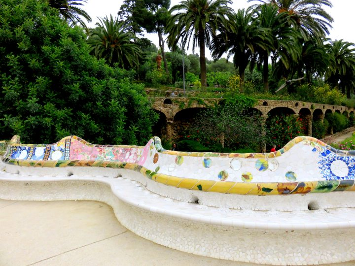 Mosaic tile bench at Park Guell in Barcelona