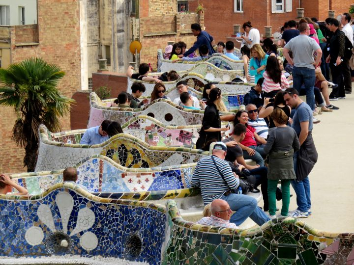 Park Guell serpentine mosaic tile bench designed by Catalan architect Antoni Gaudi