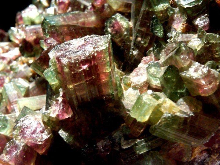 Minerals at museum of Bi-color Tourmaline - H Stern jewelers Ipanema location - Rio de Janeiro Brazil