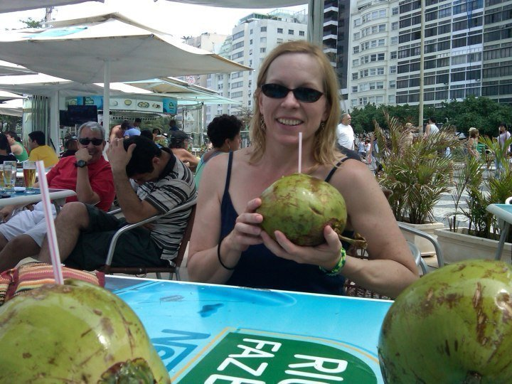 Fresh coconut water - Copacabana beach in Rio de Janeiro Brazil