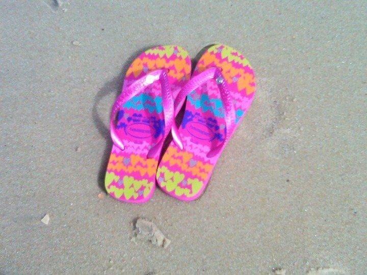 Havaianas brand flip flops on the Copacabana beach in Rio de Janeiro Brazil