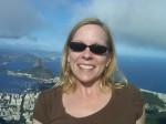 Susan Moore with view from Corcovado - Rio de Janeiro Brazil in background