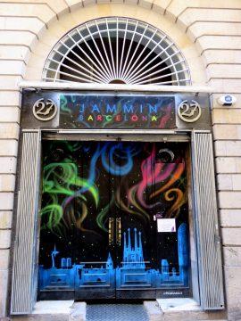Colorful painted door to Jammin Barcelona