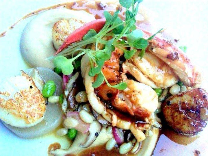 lobster with sauté scallops, black tea & shiro-shoyu miso pureed white beans, braised radishes, edamame, shitake mushrooms