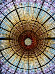 Palau de la Musica Catalana stained glass dome at concert hall in La Ribera neighborhood - Barcelona Spain