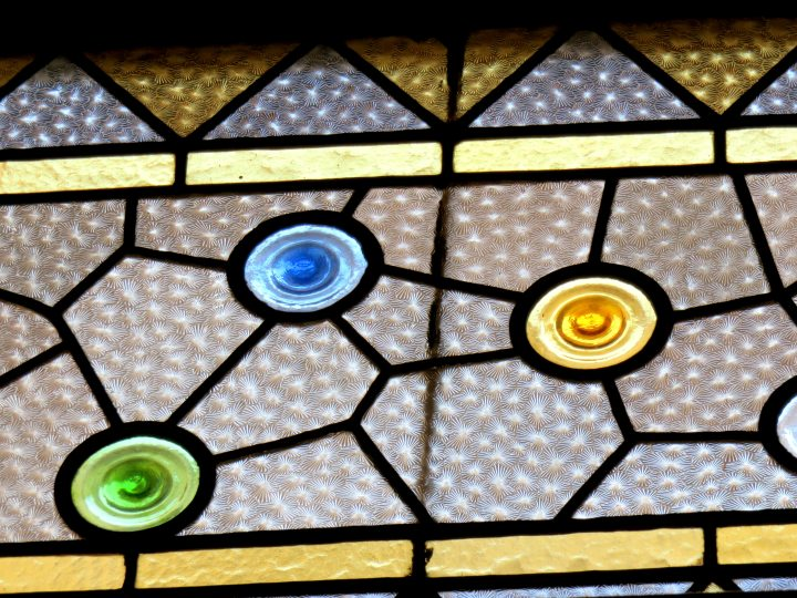 Stained glass at Palau de la Musica in Barcelona