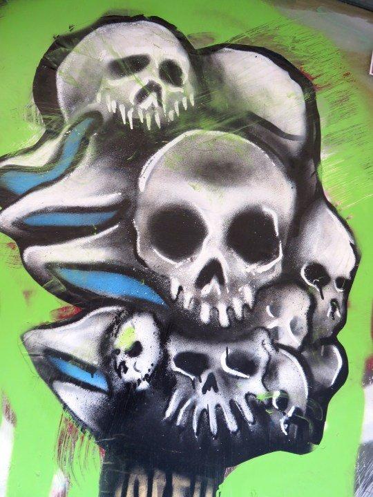 Street art in central Barcelona - skulls